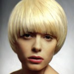 Yellow blonde mod hairstyle