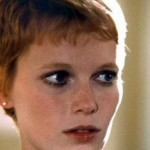 Mia Farrow with short blonde pixie hairstyle