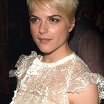Selma Blair with short blonde hair