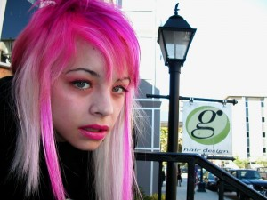Long emo hair in bright pink and platinum blonde