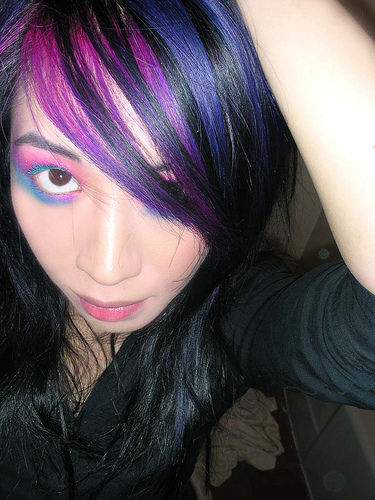 and I decided it would be amusing to put some purple streaks in my hair.
