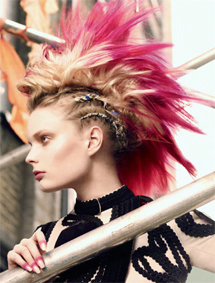 Add pink color to the tips of yoru hair and braid the sides to achieve this punk look without touching the razors.