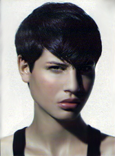 A very androgynous and sophisticated look with this short haircut.