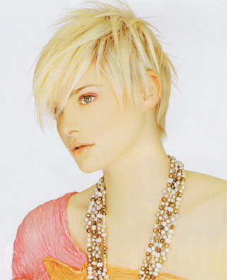 short blonde hair bangs. Very blonde hair can look amazing when cut into this short boyish haircut.