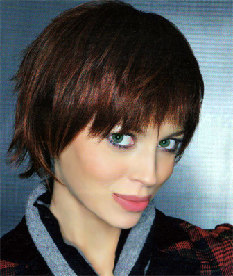 brown hair with red highlights pictures. Copper/red highlights added to
