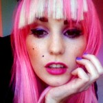 Audrey Kitching Pink Hair and Blonde Fringe