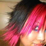 Short Black and Pink Hair