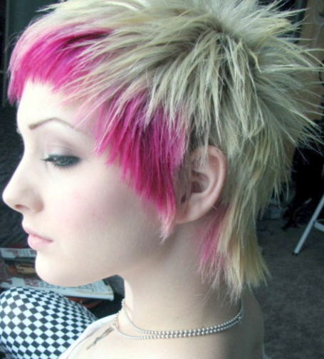 platinum blonde hair with black. Pink and Platinum Emo Pixie
