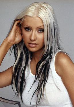 Black hair with blonde highlights underneath