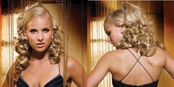 Beautiful long hair pinned up the front in a sleek style with big loose cascading curls down the back.