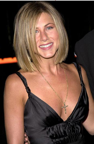 Jennifer Aniston short blonde bob haircut.