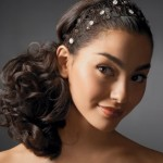 Delicate headband with low ponytail