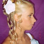 Bride updo with flowers.