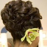 Fancy bride updo with green orchid.