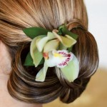 A fresh green orchid in elegant updo.