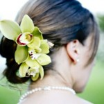 Green orchids in bride updo.