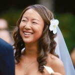Bride hair out with curls, flower and veil.