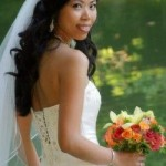 Long wavy bride hairdo with long white veil.