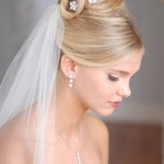 Classic and elegant updo with white veil and small flowers in the hair.