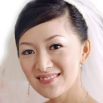 Classic bride updo with veil.