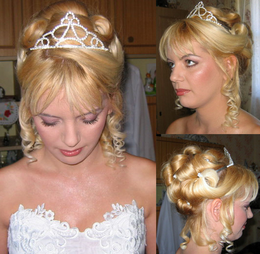 Beautiful updo with curls and tiara for your wedding day