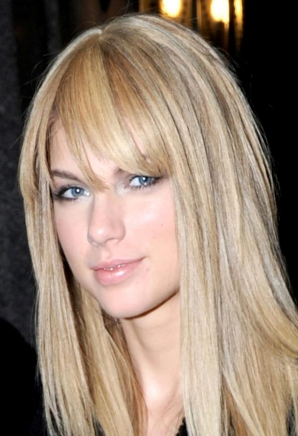 Beautiful Taylor Swift with Straight Hair and Bangs