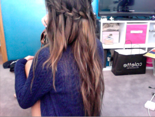 long brown waterfall braid