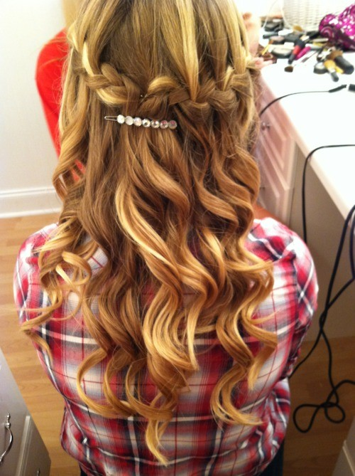 blonde hair and curly waterfall braid