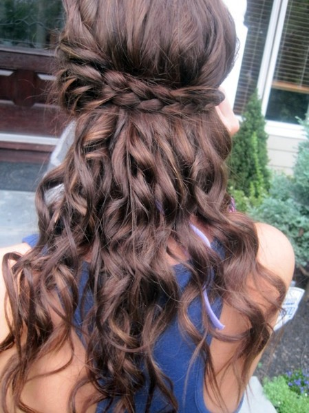 brown hair curly with braid