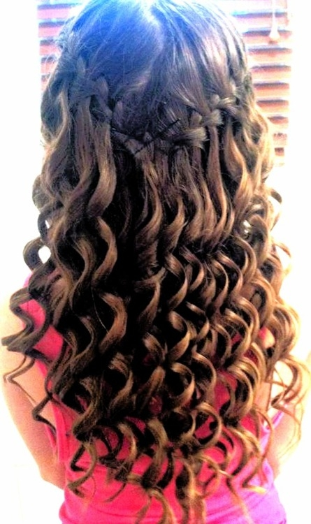curls and waterfall braid