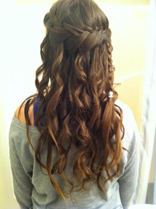 brown hair waterfall braid