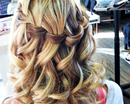 pretty blonde curly hair with waterfall braid