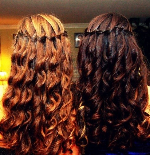 brown and blonde waterfall braided hair