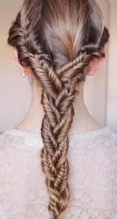 Three fishtails woven into one braid