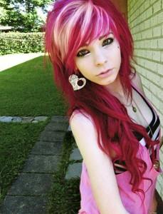 Deep red hair with blonde streaks