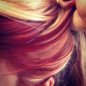 Red & blonde hair closeup