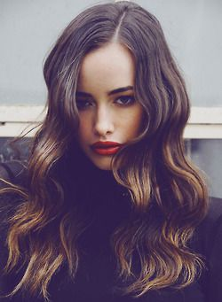 Brunette hair with soft highlights | Balayage hair on model Sarah Stephens