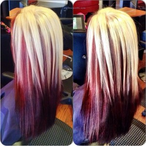 Straight hair with blonde on top and red underneath