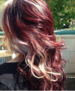 Gorgeous dark red with white blonde streaks