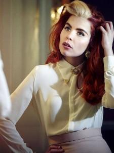Glamorous red hair with white bangs
