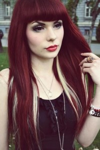 straight red hair with blonde underneath